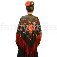 Spanish Flamenco Shawl Black Red Beautiful Traditional Fringe Embroidered Manton