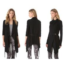NWT Helmut Lang Sonar Wool Leather Belted Cardigan Sweater Jacket Black P XS