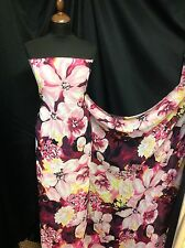 "Beautiful Chiffon Floral Print Fabric Multi colour 150cm 59"" Cloth Dress Garment"