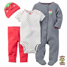 Carter's 4 pc Set w/ Bodysuit, Pants, Sleep & Play, & Cap, 3 months