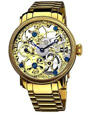 AKRIBOS XXIV AK525YG ANGLE MEN'S SKELETON MECHANICAL YELLOW COLOR WATCH. BR  NEW
