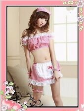 Brand New Woman Pink Lace Trim Nurse Cosplay Costume Sleepwear Dress Thong
