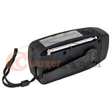 Emergency Solar Crank Dynamo Radio with AM FM Flashlight USB Charger - Black