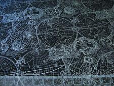 1 Yard Quilt Cotton Fabric - Benartex Kanvas Vintage Globe World Maps Silver Met
