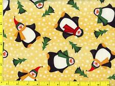 Jolly Plump Christmas Penguins on Dotted Yellow Fat Quarter CWIANI09440