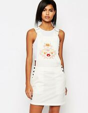 Vero Moda Western Embroidered Casual Dungaree Dress Size M UK-12 White