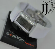 NEW PHILIPPE STARCK BY FOSSIL CRYSTAL BRACELET DIGITAL WHITE RUBBER WATCH PH1115