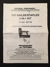 Central Pneumatic Air Nailer Stapler Operating Instructions Manual Model 40116