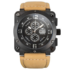 New Infantry Men's AVR-003-BLK-L Aviateur Night Vision Brown Leather Watch