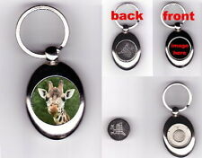 GIRAFFE TROLLEY COIN TOKEN KEYRING - WILD ANIMAL LOVER PHOTO FAN GIFT