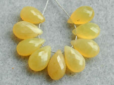 Natural Yellow Opal Faceted Pear Briolette Semi Precious Gemstone Beads 005