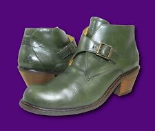 JOHN FLUEVOG 'Adriana: Chapot' Green Leather Buckled Ankle Booties Boots Sz 11