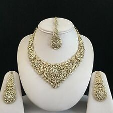 GOLD CLEAR INDIAN COSTUME JEWELLERY NECKLACE EARRINGS DIAMOND SET BRIDAL NEW 1