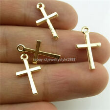 14031*100PCS Rose Gold Tone Mini Religious Faith Cross Pendant Charms