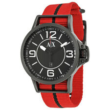 Armani Exchange Black Dial Red and Black Canvas Strap Mens Watch AX1582