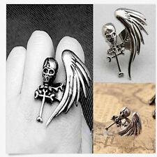 Gothic Punk Silver Gold Angle Wing Skull Personalized Skeleton band cuff gift UK
