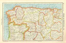 1952 MAP ~ ESPAÑA Y PORTUGAL NORTE OCCIDENTAL ~ ASTURIAS LEON ZAMORA VALLADOLID