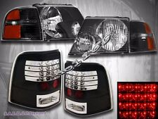 02-05 Ford Explorer 4-Door 6 Piece Combo Headlights + LED Tail Lights Black