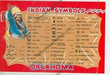"INDIAN SYMBOLS AND MEANINGS-OKLAHOMA-4""X6"" POSTCARD-(INDIAN4X6-51*)"