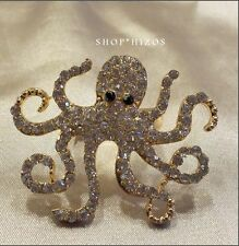 "GOLD OCTOPUS PAVE CRYSTAL METAL STRETCH 3"" STATEMENT RING NEW"