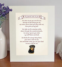 """Rottweiler 10""""x8"""" Free Standing 'Thank You' Poem Fun Novelty Gift FROM THE DOG"""