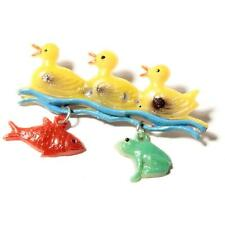 Vintage Bohemian early plastic hand painted pin brooch yellow ducks frog fish