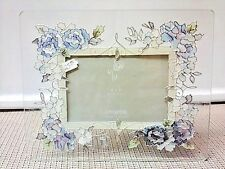 Flowered stained glass photo frame holds a 4 X 6 photo by Joan Baker Designs