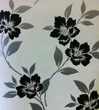 Grace WHITE SILVER BLACK dispongono di carta da Parati TESTURIZZATA IN VINILE Flower Design X