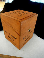 Vintage Hinge Wood GEORGE BURNS CIGAR BOX 7 1/4 X 5 3/4 X 5 3/4 Monarch Cigars