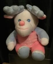 Baby Girls 12 Inch White/ Blue / Pink Plush My First Christmas Reindeer Soft Toy