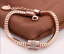 18K Rose Gold Plated Crystal Rhinestone Snake Chain Bracelet Bangle Jewelry