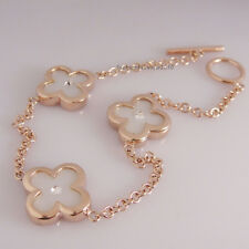 18K Rose Gold GP Clear White Crystal Three Lucky Flower Chain Bracelet IS021A