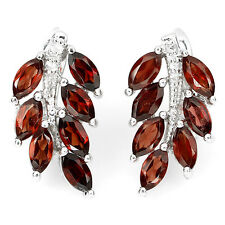 NATURAL RICH ORANGE MOZAMBIQUE GARNET STERLING 925 SILVER LEAF HUGGIE EARRINGS
