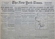 10-1941 WWII October 10 ROOSEVELT ASKS FOR AUTHORITY TO ARM SHIPS; GERMANS CLAIM