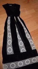 MR HANK Black Velvet/Lace Maxi Dress. Vintage 70s. sz S.