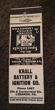 Vintage Matchbook Cover Matchcover Krall Battery & Ignition Co Lebanon PA