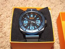 NEW NWT *HUGO BOSS* Men's SAO PAULO Black/Blue Rubber Watch 1513108 $205