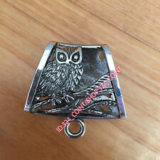 P041 2pc Tibetan Silver Charms OWL Pendant Hanger Bails Necklace scarf Connector