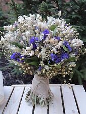 Dried Flowers Bouquet/Sheaf Wheat Harvest Country Wedding Cream & Purple Large