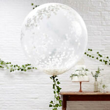 "GIANT WHITE Confetti Filled BALLOONS 36"" inch ~ Luxury Quality ~3 Pack ~ Wedding"