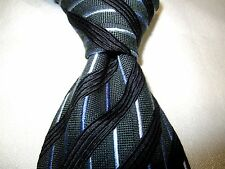 Kolte Gray Black Blue White Stripes Lines Silk Wool Necktie Tie Made in Italy