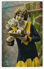 1920's French Deco Beauty PRETTY FLAPPER tinted antique photo postcard