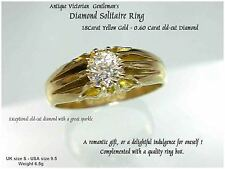 18ct Gold Gypsy Set Solitaire .60ct Diamond Ring UK S Mans Mens Victorian c1893