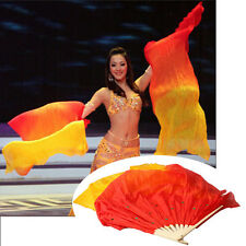 Hand Made Colorful Belly Dance Dancing Silk Bamboo Wedding Party Long Veils Fans