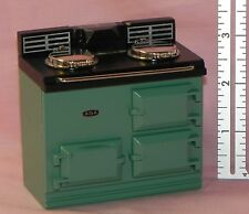 Dollhouse Miniature Oven Stove Aga Style Green Reutter Porcelain 1:12 Scale