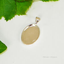 18x13 Oval Silver Plated Cabochon (Cab) Pendant Setting (#D2-62)