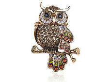 Special  Crystal Rhinestone Accented Feathers Grandfather Owl Bird Ring
