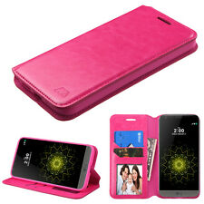 For LG G5 Leather Wallet Card Cash Case Cover Flip Folio Pouch Stand Flip PINK