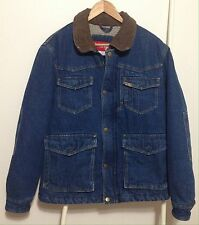 Wrangler Sherpa Lined Denim Jacket Mens Size M Dark Blue Jean Barn Chore Trucker