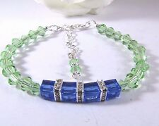 Apple Green and Blue Cube Bracelet Adorned With Swarovski Crystals